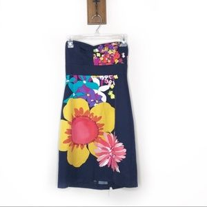 Trina Turk Navy Colorful floral strapless dress